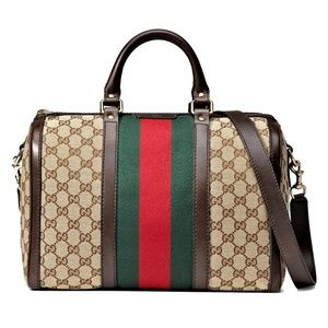 New Medium Gucci Vintage Web Boston Shoulder Bag